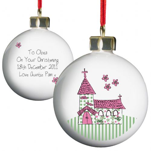Personalised Whimsical Church Pink Bauble